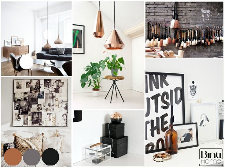 creative moodboard with black and copper by Styling en Interieur - Interior, photography  by Binti Home