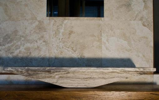 """Radda"" solid italian stone sink. Travertine looks beautiful with this simple lines.  Design Arch. Lorenzo Polvani"