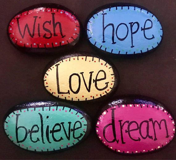 These inspirational and colorful rocks are great to display, keep on hand for good luck charms, or give away as thoughtful gifts. These are also quite delightful scattered in a flowerbed or garden! Surprise and delight people with these little charmers! At just over $2 each theyre an affordable way to spread cheer! These are made to order so size and shape may vary slightly. Painted rocks are fun, unique pieces of art that make wonderful display pieces, garden stones, paperweights, pet…