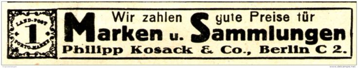 Original-Werbung/ Anzeige 1920 - BRIEFMARKEN KOSACK BERLIN - ca. 65 x 10 mm