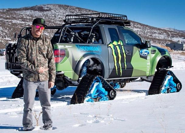 Badass! Ken Block's Ford RaptorTrax Is The ULTIMATE Snowmobile! Want to see it in action?