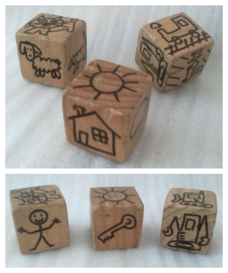 DIY Story Cubes - Tommy asks for these every day. I drew only his favorite items (lots of diggers and vehicles, and animals he likes).