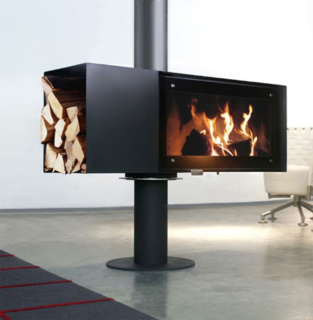 modern standing fireplace designs Turn Stand Modern fireplace design