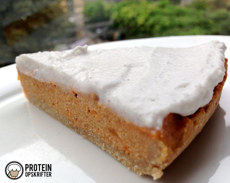 Low carb sweet potato protein pie with whipped coconut cream