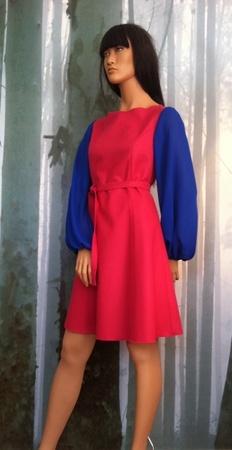 "MinSin, pink wool dress with blue chiffon sleeves. ""Vilde"""