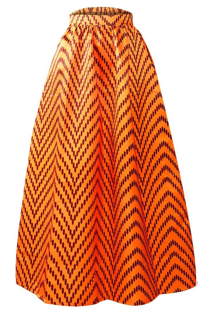 Jupe Longue Taille Haute Wax Africaine Orange Points Polka Zig-zag Pas Cher www.modebuy.com @Modebuy #Modebuy #Orange #mode #femme