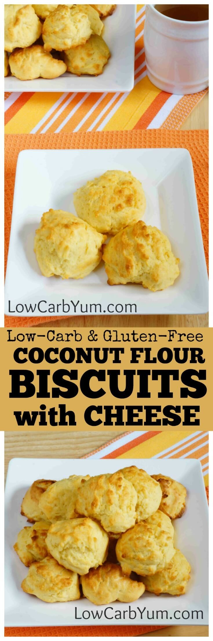 If you miss the warmth of freshly baked bread, these coconut flour biscuits are sure to please. They are full of cheese with a touch of garlic.