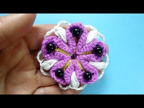 Фантазийный цветок Crochet flower Вязаные цветы 88 - YouTube