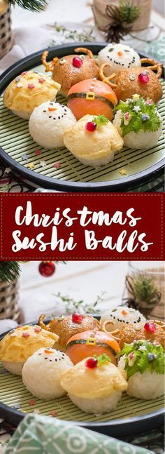 Delight your guests this year with festive and unexpected Christmas Sushi Balls! #Ad