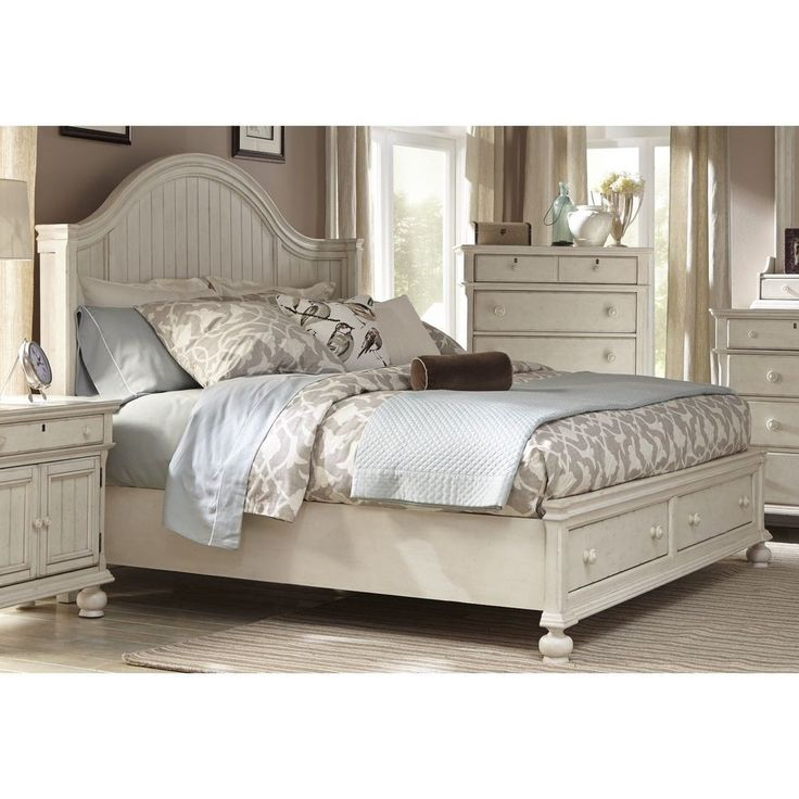 Bed Frame with Storage Platform Queen King Size Coastal Living Beach House Style #GreysonLiving #CottageCountryCoastal