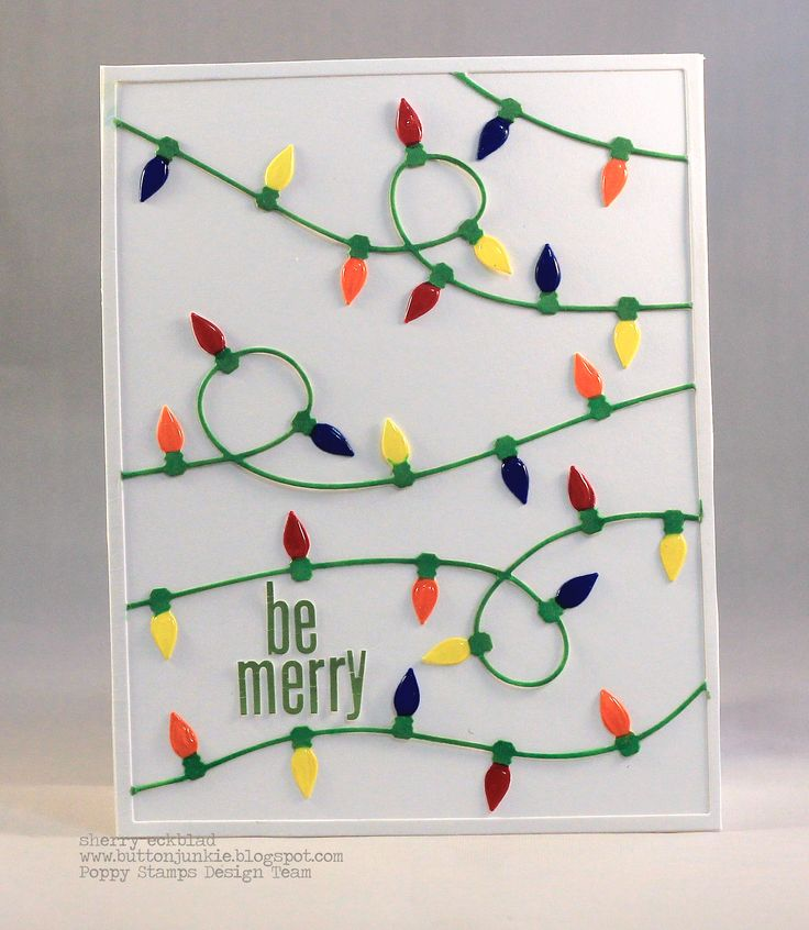 Sherry E here today sharing a fun Holiday card that I created using the newly released Christmas Light Background die. For my card I cut out the Christmas Light Background