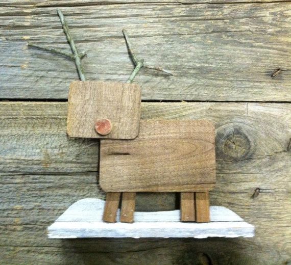 Pallet Board Reindeer cut from old reclaimed pallet boards and house siding. This is a great Christmas decoration, especially next to a Santa I build. The antlers are made from twigs or old rusty nails I pull from boards. $25