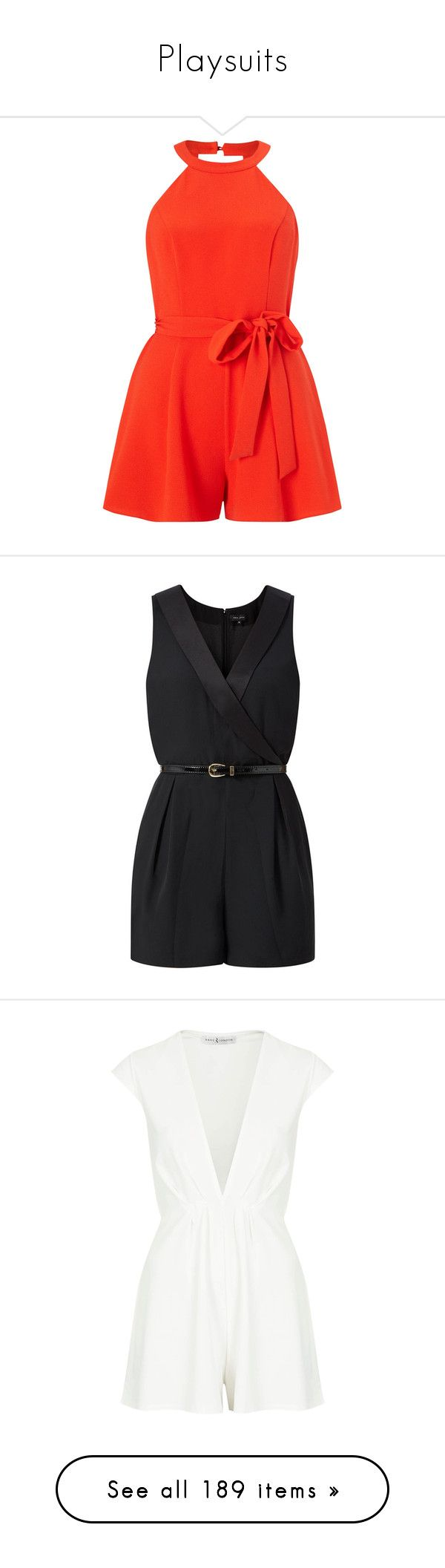 """""""Playsuits"""" by giovanna1995 ❤ liked on Polyvore featuring playsuit, jumpsuits, rompers, dresses, jumpsuits and rompers, petite, red jumpsuits, red halter top, orange jumpsuit and red romper jumpsuit"""