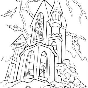 halloween day haunted spooky castle on halloween day coloring page haunted spooky castle on - How To Draw Halloween Decorations