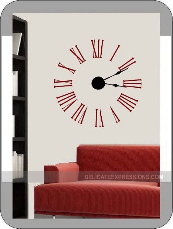 Large Wall Clock Decal Kit With Working Hands And