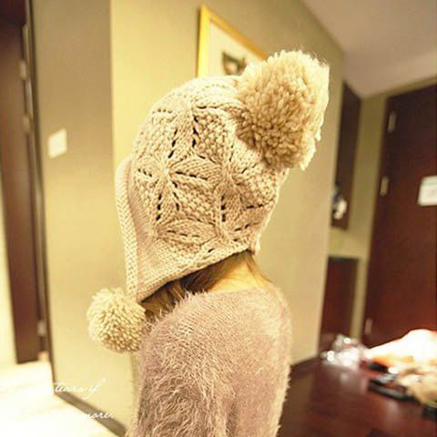 Cute Big Ball Embellished Solid Color Woolen Cap For Women