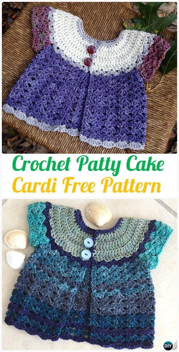 Patrón de crochet Patty Cake bebé chaqueta de punto - capa del suéter Patrones libres del ganchillo del cabrito