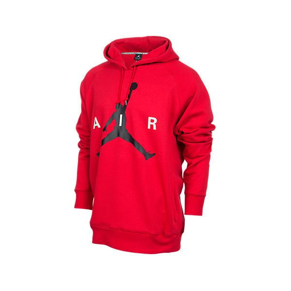 Nike Men's Air Jordan Air Pullover Hoodie ($28) ❤ liked on Polyvore featuring men's fashion, men's clothing, men's hoodies, red, mens red hoodie, mens hoodies, mens hooded sweatshirts, mens hoodie and mens sweatshirts and hoodies