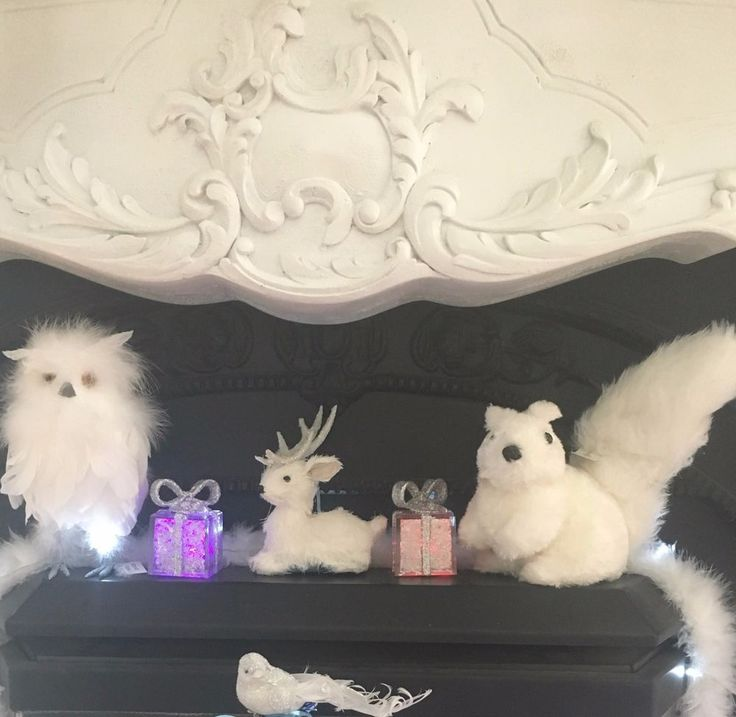 Set of 3 White Glitter Christmas Table Decoration Owl Reindeer Squirrel Hamptons