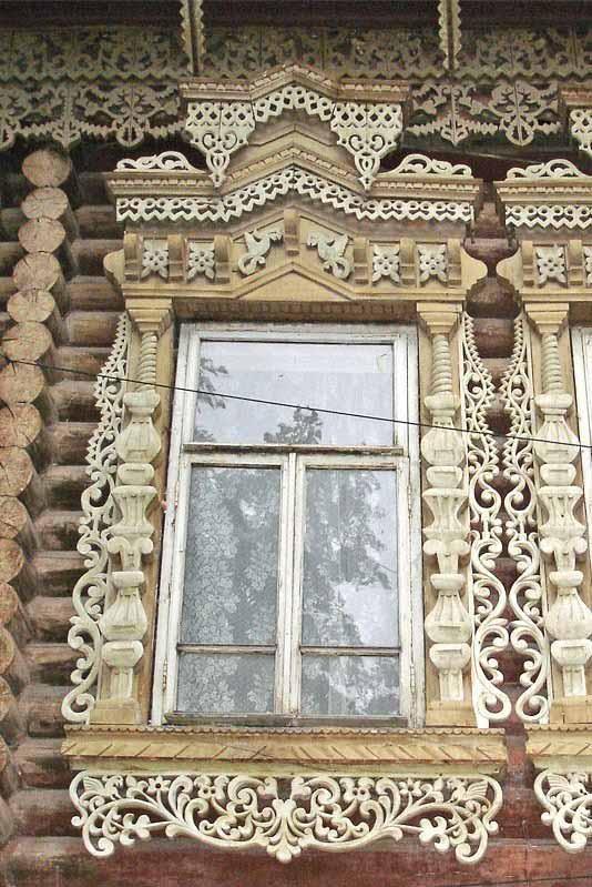 Russia. Traditional Russian wooden platband (Nalichnik).