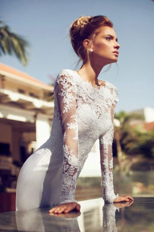 Lace bridal gown.
