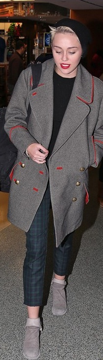 Gray and red coat