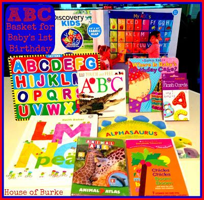 ABC Basket for Baby's 1st Birthday (ABC Themed Party) plus other ideas for baby's 1st birthday gifts! - House of Burke