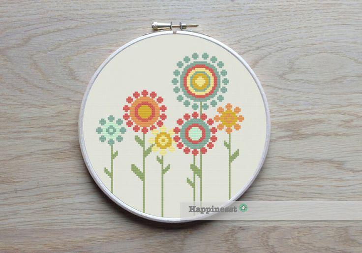 cross stitch pattern flowers, retro flowers, PDF pattern ** instant download** by Happinesst on Etsy https://www.etsy.com/listing/217462900/cross-stitch-pattern-flowers-retro