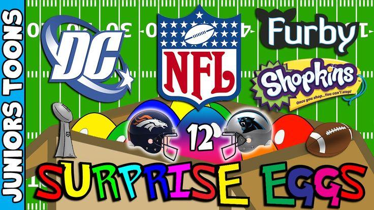 Super Bowl Opening Surprise Eggs #12 | Broncos Panthers Shopkins Dc Comi...