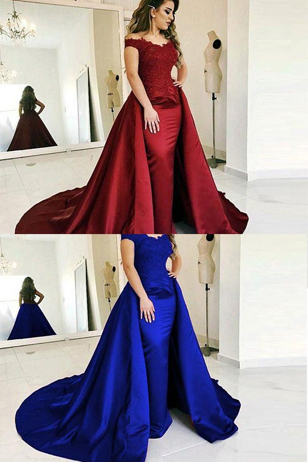 59a229c88e Mermaid Off the Shoulder Detachable Train Burgundy Long Prom Dress ...
