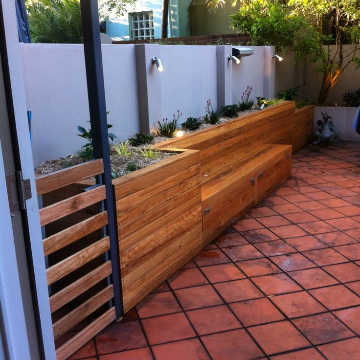 Raised Garden Bed  Bench Seat And Storage Area  Cladded With Blackbutt Decking  Plants