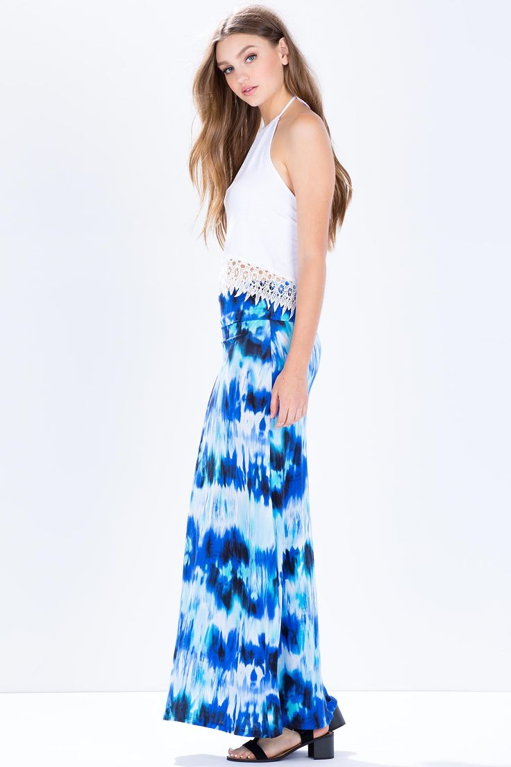Юбка-макси Размеры: S, M, L Цвет: синий с принтом Цена: 339 руб.  #одежда #женщинам #юбки #коопт