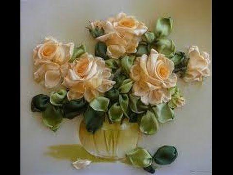 Еще одна роза и её листик. Вышивка лентами видео уроки.