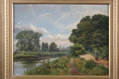 19th Century school, a view near Richmond on Thames, Surrey, with figure walking along side a riverside path, church in the far ground, initialled HCR
