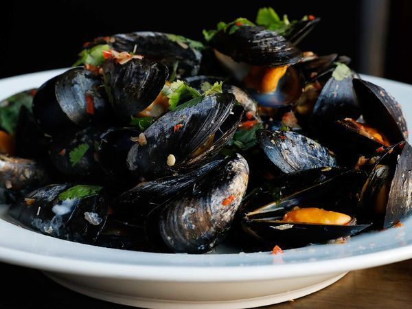 Serve these mussels with homemade bread or twice-fried chunky potato chips for sopping up the gently spicy coconut broth.