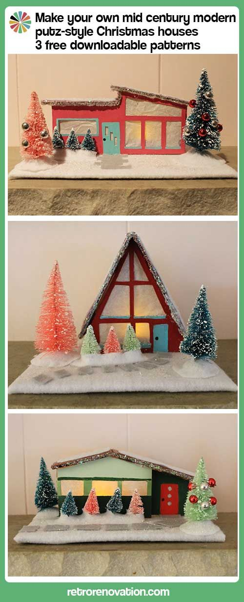DIY Mid Century Modern putz-style Christmas Houses - 3 free downloadable patterns on Retro Renovation