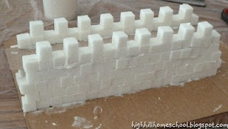 Highhill Homeschool: Great Wall of china out of sugar cubes could make sugar cube castles
