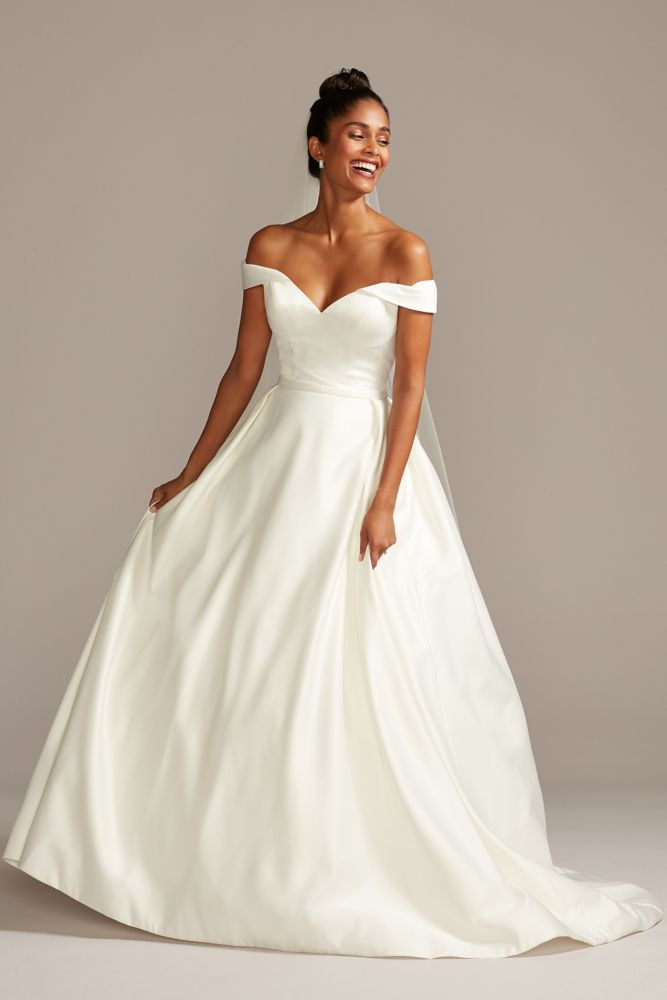 Off The Shoulder Satin Ball Gown Wedding Dress Ball Gowns