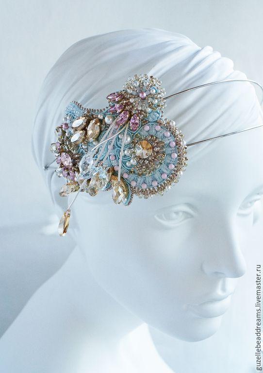 Купить Ободок с кристаллами Swarovski - розовый, голубой, золотой, серебристый, обруч для невесты, обруч для волос: