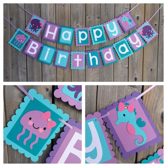 Under The Sea Happy Birthday banner Under by lilcraftychickadee