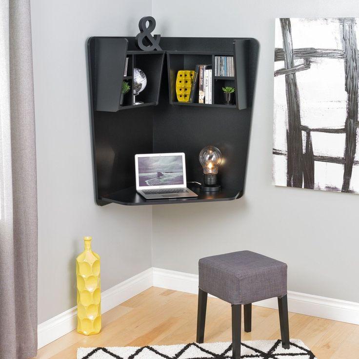Prepac 7 Shelf Floating Corner Desk In Black Prepac