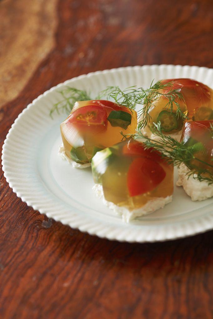 crab recipes オクラとトマトのゼリー寄せ 蟹サワークリーム