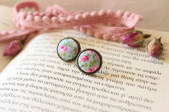 Pink Floral Studs Floral Studs Posts Fabric by EfZinCreations