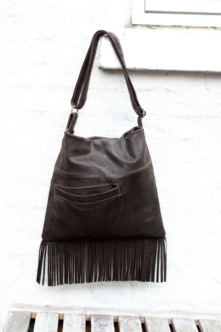 Soft brown nubuck fringe bag