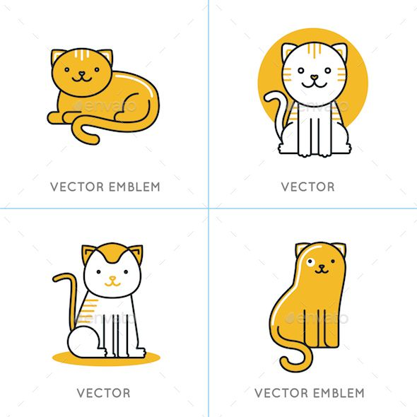 Cat Icons and Illustrations - Animals Characters