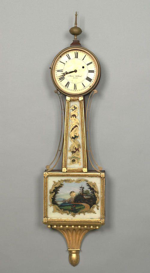 Boston Federal Mahogany Banjo Clock Ca 1820 Signed
