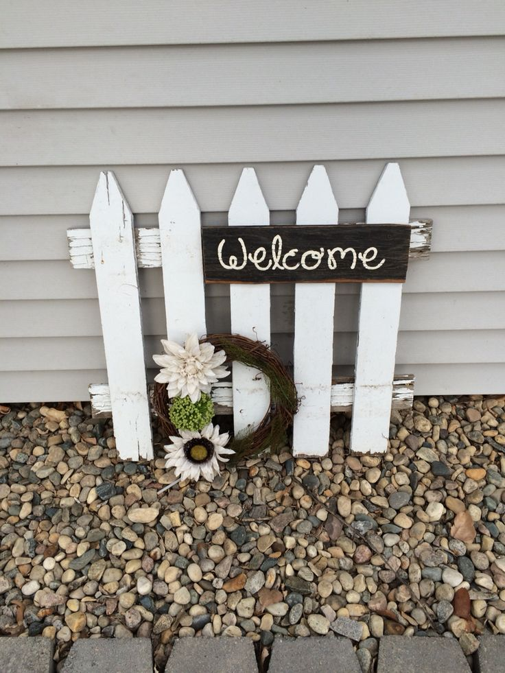 Welcome sign from a piece of old picket fence :)