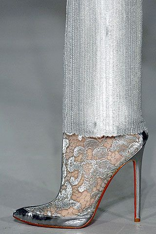 Louboutin ankle boots of silver lace and leather & Rodarte 'liquid' silver trousers, ss 2007