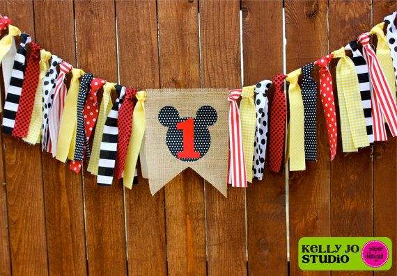 Mickey Mouse Burlap Red Yellow Black & White by KellyJoStudio