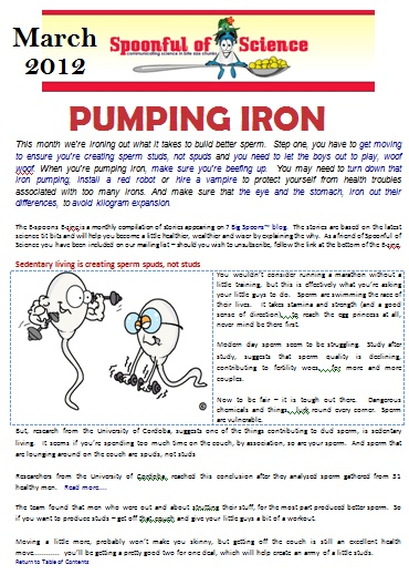 The March Edition of E-spoons gets you moving a little more and makes you take a second look at iron, a two edged sword.  To download it, click to download.
